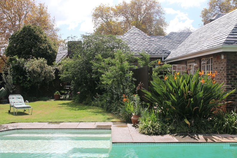 Large swimming pool and garden with pool-side cottage at self-catering accommodation in Johannesburg | Acorns on 8th